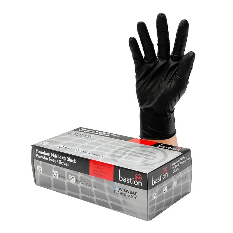 Bastion Nitrile Black PowderFree Gloves SMALL - UniPak