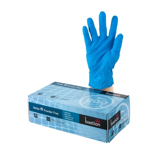 Nitrile Soft Blue Powder Free Gloves - MEDIUM Pack 100 - Bastion