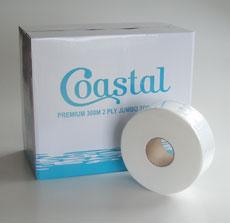 Jumbo Toilet Rolls - 2ply 300m - Coastal brand